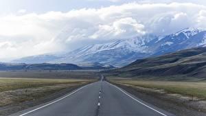 Обои Россия Дороги Горы Пейзаж Асфальт Облака mountain Altai