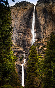 Картинки Штаты Парки Водопады Йосемити Утес Природа