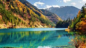 Фотографии Цзючжайгоу парк Китай Осень Парк Озеро Гора Лес Пейзаж