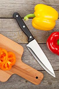 Картинки Перец Ножик Доски Разделочная доска Еда