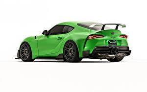 Фото Toyota Белом фоне Зеленые Металлик Купе 2019, GR Supra, A90, Wasabi Concept авто