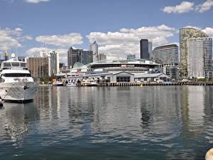 Фото Мельбурн Австралия Пирсы Здания Яхта Города