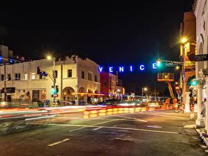 Фото Штаты Здания Дороги Калифорния Ночные Уличные фонари Улица Venice Beach
