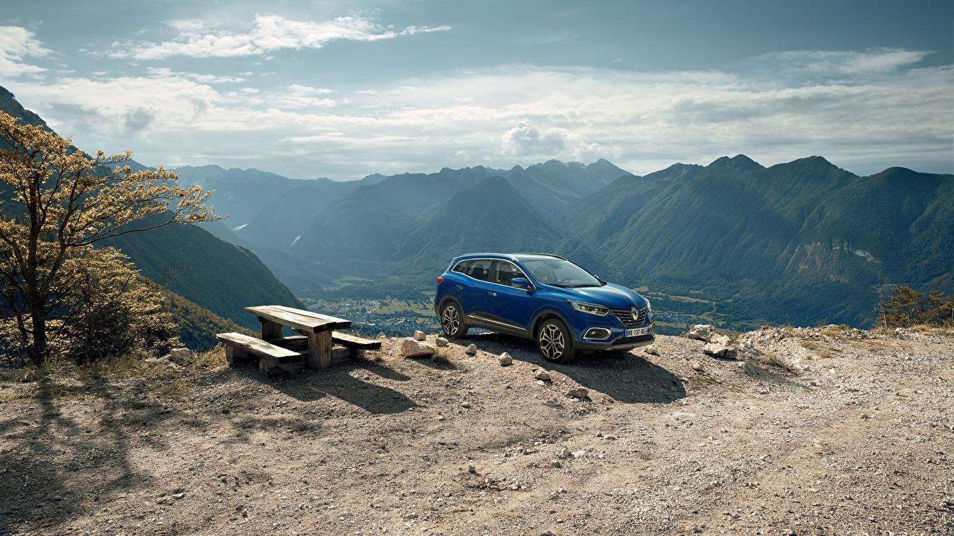 Картинка Рено 2018 Kadjar Worldwide Синий Автомобили 1366x768 Renault Авто Машины