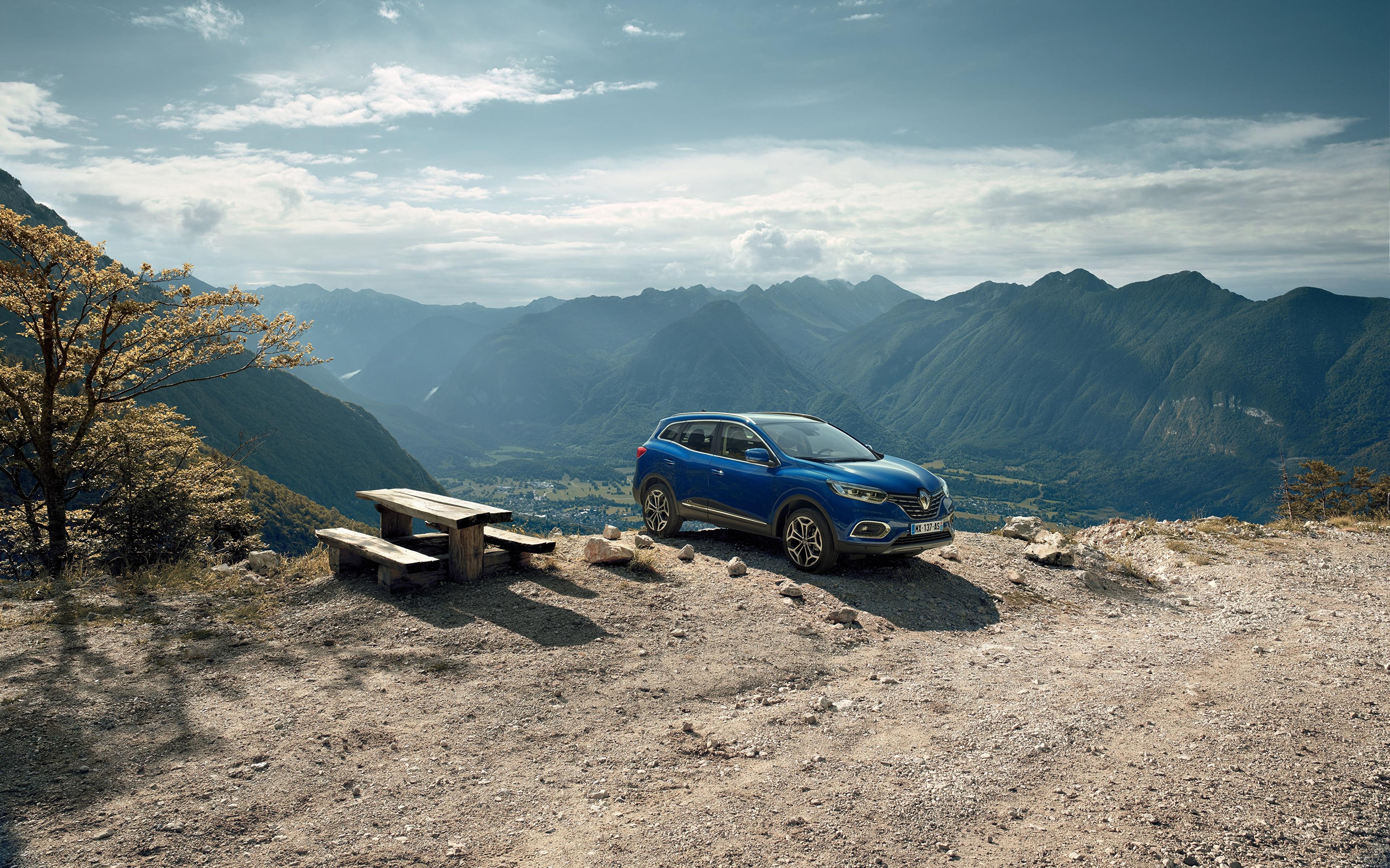 Картинка Рено 2018 Kadjar Worldwide Синий Автомобили 3840x2400 Renault Авто Машины