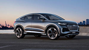 Обои для рабочего стола Ауди Сбоку Металлик CUV Q4 Sportback e-tron Concept, 2020 Автомобили