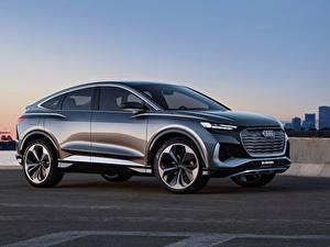 Фотографии Ауди Сбоку Металлик CUV Q4 Sportback e-tron Concept, 2020 Автомобили