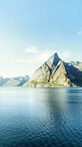 Фотография Норвегия Лофотенские острова Пейзаж Горы Небо Побережье