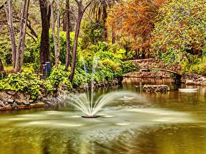 Картинка Испания Парки Фонтаны Пруд Мосты Деревья Seville Maria Luisa Park Природа