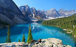 Фото Канада Парки Горы Озеро Леса Пейзаж Банф Ель Природа