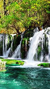 Фотография Цзючжайгоу парк Китай Парк Водопады Мха Природа