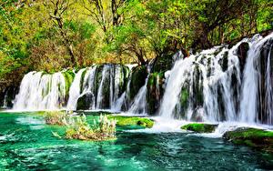 Фотография Цзючжайгоу парк Китай Парк Водопады Мха