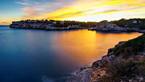 Фото Мальорка Майорка Рассвет и закат Побережье Залива Скалы Mirador Es Pontas Природа