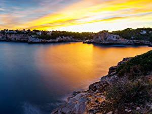 Фото Мальорка Майорка Рассвет и закат Побережье Залива Скалы Mirador Es Pontas