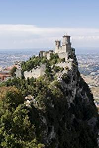 Картинка Горы Замок Утес Castle Of San Marino, Republic Of San Marino город