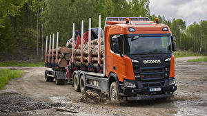 Фото Сканиа Грузовики 2017 R 580 XT 6×4 Highline Timber Truck Машины