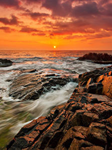 Фотография Болгария Рассветы и закаты Берег Камень Море