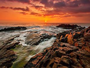 Фотография Болгария Рассвет и закат Берег Камень Море