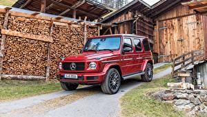 Фотографии Mercedes-Benz Красный Металлик Внедорожник 2019 G 350 d AMG Line Worldwide Автомобили