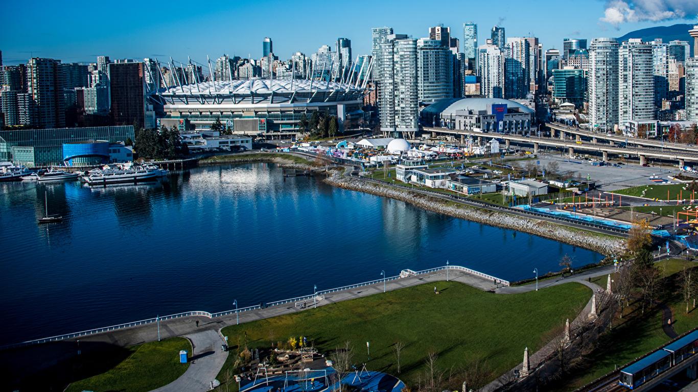 Фото Ванкувер Канада Залив Причалы город Здания 1366x768 Пирсы залива заливы Пристань Дома Города