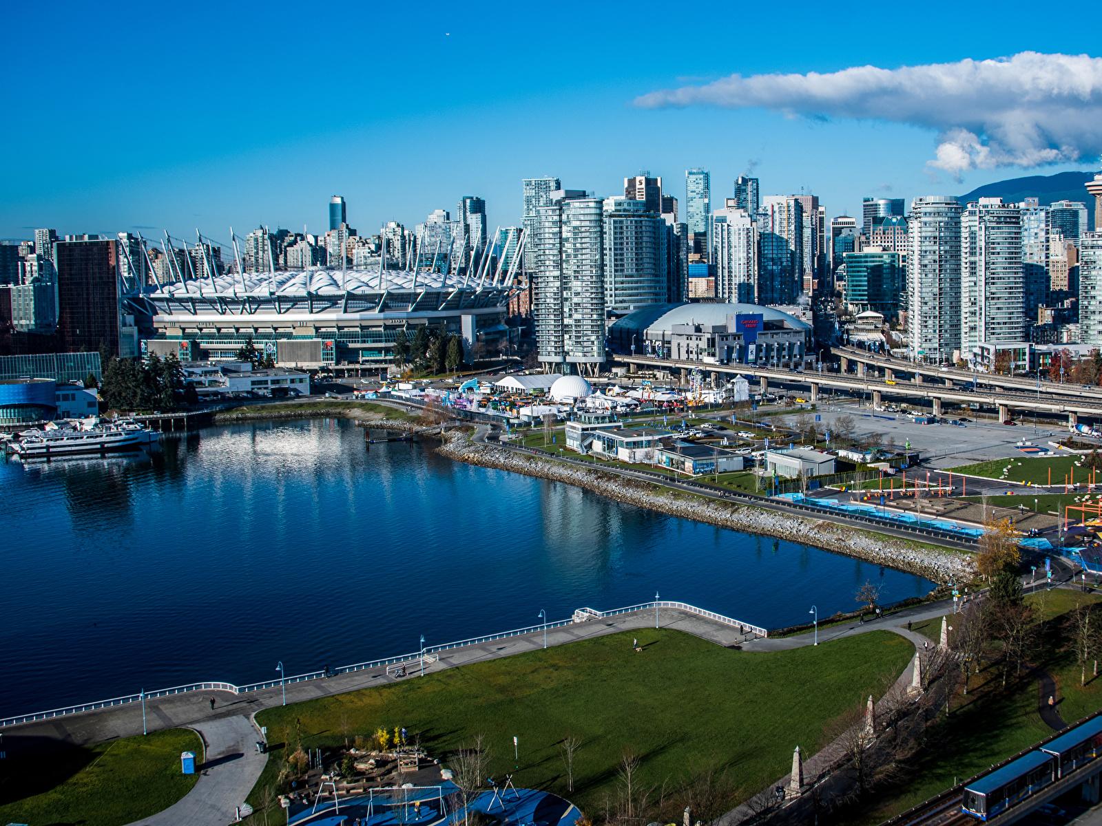Фото Ванкувер Канада Залив Причалы город Здания 1600x1200 Пирсы залива заливы Пристань Дома Города