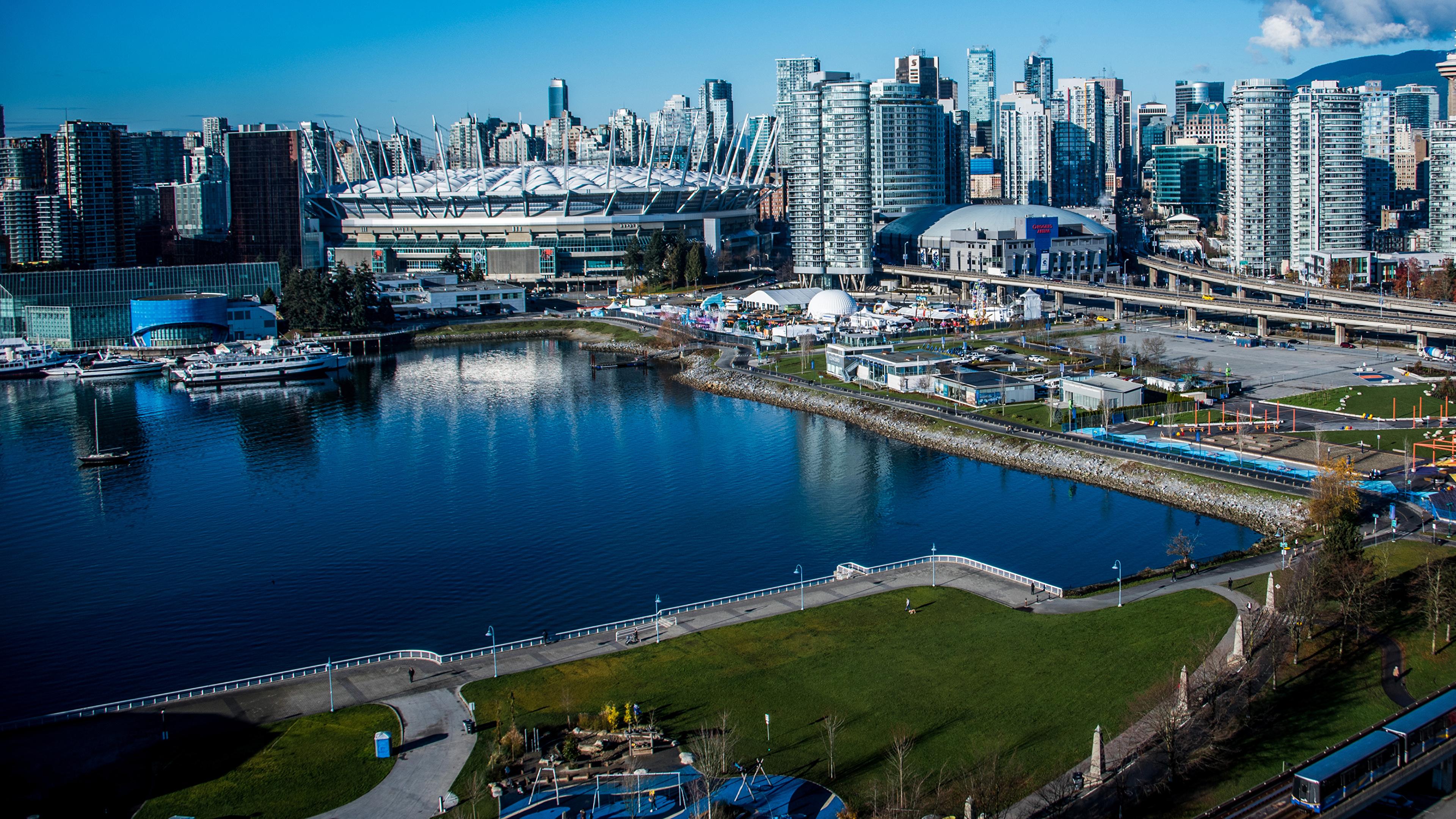 Фото Ванкувер Канада Залив Причалы город Здания 3840x2160 Пирсы залива заливы Пристань Дома Города