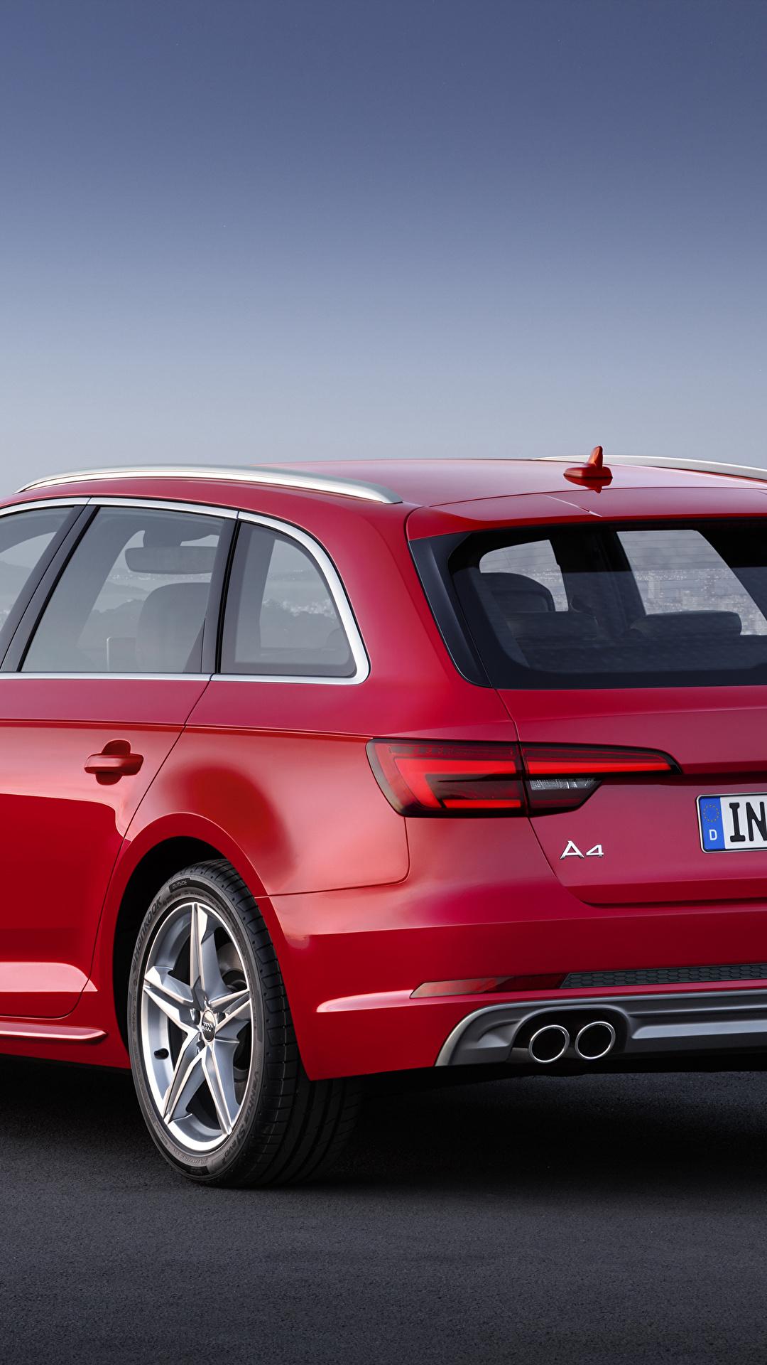 Фотография Audi Универсал TDI quattro Avant, 2015 S line красная Сзади Металлик Автомобили 1080x1920 для мобильного телефона Ауди красных красные Красный авто машина машины вид сзади автомобиль