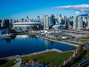Обои для рабочего стола Канада Дома Причалы Ванкувер Залива город