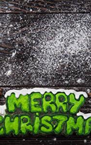 Фото Рождество Печенье Корица Сахарная пудра Доски Английский Рукавицы Пища