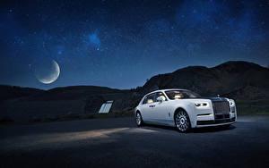 Обои Роллс ройс Белая Ночные 2019 Phantom Tranquillity авто