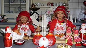 Фотография Праздники Рождество Свечи Сладости Куклы Девочка Вдвоем Дед Мороз Шляпа Grugapark Essen Дети