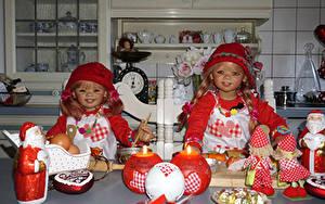 Фотография Праздники Рождество Свечи Сладости Кукла Девочки Двое Дед Мороз Шляпа Grugapark Essen Дети