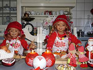Фотография Праздники Рождество Свечи Сладости Куклы Девочка 2 Дед Мороз Шляпа Grugapark Essen Дети