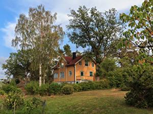 Фотография Швеция Дома Особняк Дизайна Деревья Кусты Saltsjobaden город