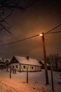 Картинка Хорватия Зима Здания Ночь Снеге Уличные фонари город