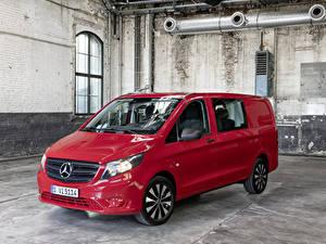 Картинка Мерседес бенц Минивэн Красная Металлик 2020 Vito Mixto Worldwide авто