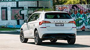 Картинка Шкода CUV Белая Металлик Вид сзади Kamiq Monte Carlo AU-spec, 2020 авто