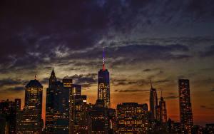 Картинка Небоскребы Здания Небо Штаты Ночью Манхэттен 1WTC, OWTC город