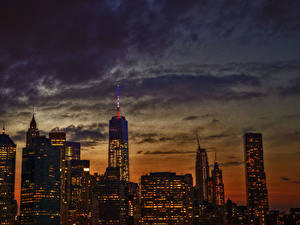 Картинка Небоскребы Здания Небо Штаты Ночь Манхэттен 1WTC, OWTC Города