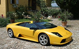 Обои Ламборгини Желтая Родстер 2004-06 Murciélago Roadster Worldwide