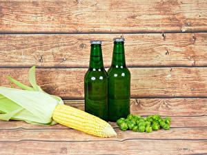 Картинки Кукуруза Пиво Хмель Доски Бутылки Пища
