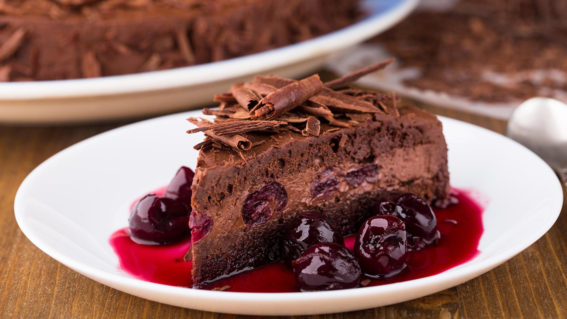 Картинки Шоколад Торты Кусок Вишня Пища 1920x1080 часть кусочки кусочек Черешня Еда Продукты питания