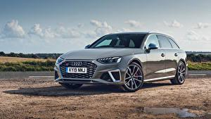 Обои для рабочего стола Audi Серые Металлик Универсал 2019 S4 Avant TDI машина