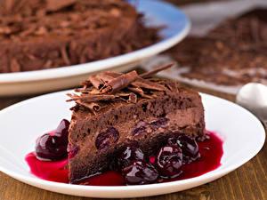 Обои для рабочего стола Торты Вишня Шоколад Кусок Еда
