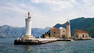 Картинки Черногория Горы Маяки Церковь Church Of Our Lady, Bay Of Kotor