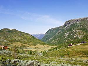 Обои Норвегия Горы Луга