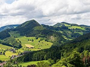 Фотография Швейцария Горы Лес Деревня Waldenburg County, Langenbruck, Basel Landschaft
