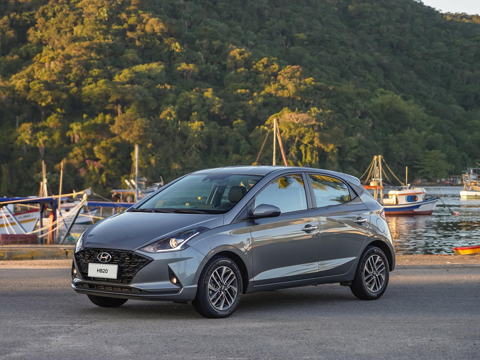 Картинка Hyundai HB20 Diamond Plus, 2020 серые Металлик автомобиль 1600x1200 Хендай серая Серый авто машины машина Автомобили