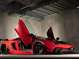 Картинки Lamborghini Красные Открытая дверь 2013-19 Performance Aventador Limited Edition Автомобили