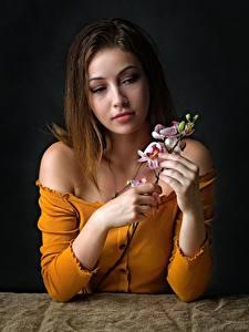 Обои Орхидея Сидящие Рука Ветвь Шатенки девушка